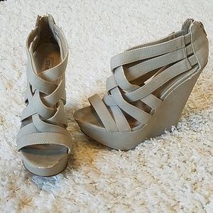 """Steve Madden Strappy Nude """"Xcess"""" Wedges"""